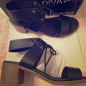 New Wild Diva Lounge black lace-up sandals